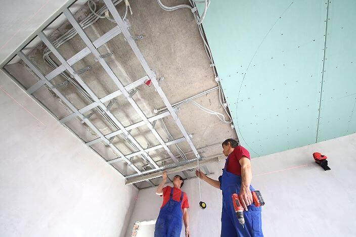 Обшивка профилей потолка гипсокартоном