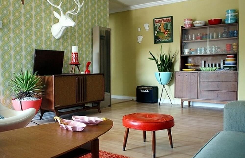 интерьер гостиной фото ретро стиль