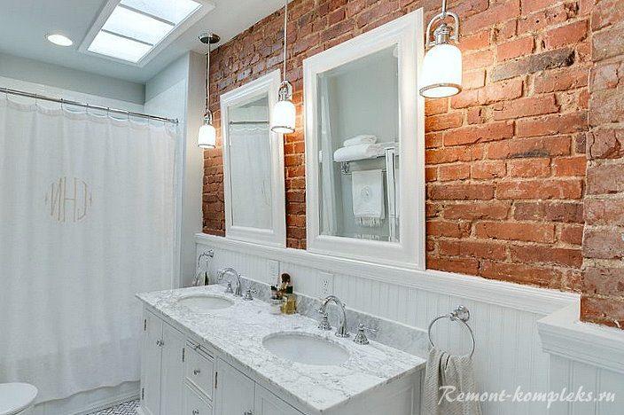 Клинкерная плитка под кирпич в дизайне ванной комнаты