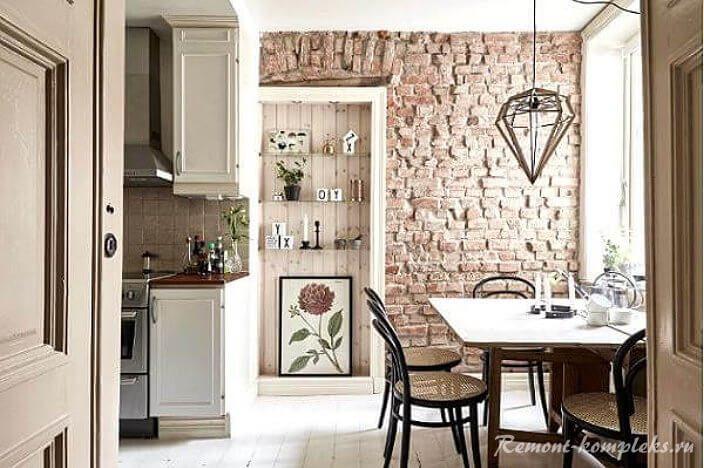 Клинкерная плитка под кирпич в дизайне кухни